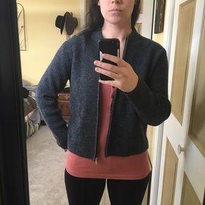 Karen Scott grey wool zip cardigan